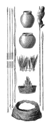productos de aseo: Armas, cer�mica, utensilios, instrumentos y art�culos de higiene personal para utilizar Siriniris. ilustraci�n, grabado de �poca. Le Tour du Monde, Diario de viaje, (1872).