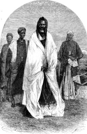 african tribe: Fara Penda, Chief Richard Toll, vintage engraved illustration. Le Tour du Monde, Travel Journal, (1872). Stock Photo
