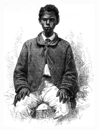 Committed Senegalese, vintage engraved illustration. Le Tour du Monde, Travel Journal, (1872).