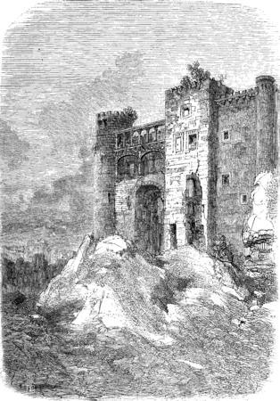 The former palace of the Dukes of Alba, Alba de Tormes, vintage engraved illustration. Le Tour du Monde, Travel Journal, (1872). Banco de Imagens