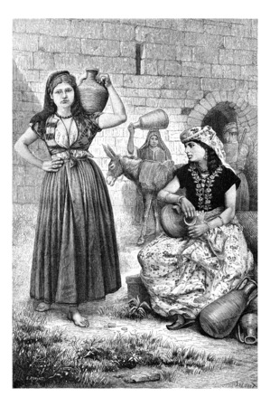 heritage site: Hiram Wells in Tyre, in Lebanon, showing Tyrian Women with Jugs of Water, vintage engraved illustration. Le Tour du Monde, Travel Journal, 1881