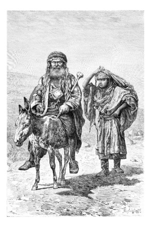 nablus: Mountaineer and Wife in Nablus in West Bank, Israel, vintage engraved illustration. Le Tour du Monde, Travel Journal, 1881