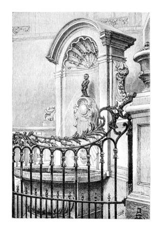 Manneken Pis à Bruxelles, en Belgique, dessin de Goutzwiller basée sur une photographie, illustration vintage. Le Tour du Monde, Voyage Journal 1881 Banque d'images