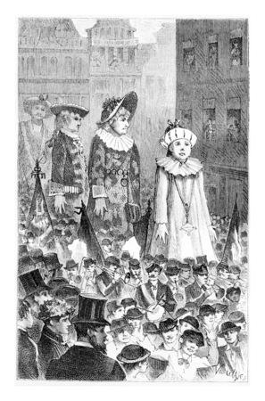 Marche des Giants à Bruxelles, Belgique, dessin de Verdyen, illustration vintage. Le Tour du Monde, Voyage Journal 1881