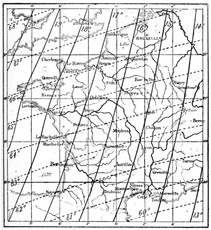 geomagnetic: Map of the Declination of the Earths Magnetic Field over France, vintage engraved illustration. Dictionary of Words and Things - Larive and Fleury - 1895