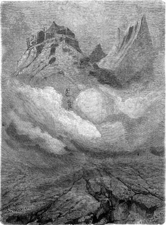 observatory: Mountain Observatory in Spitsbergen. vintage engraved illustration. Le Tour du Monde, Travel Journal, (1865). Stock Photo