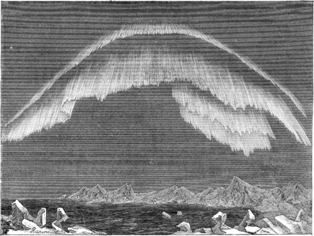 Appearance of the aurora borealis in the north in evening, Bossekop (Finnmark), vintage engraved illustration. Le Tour du Monde, Travel Journal, (1865).