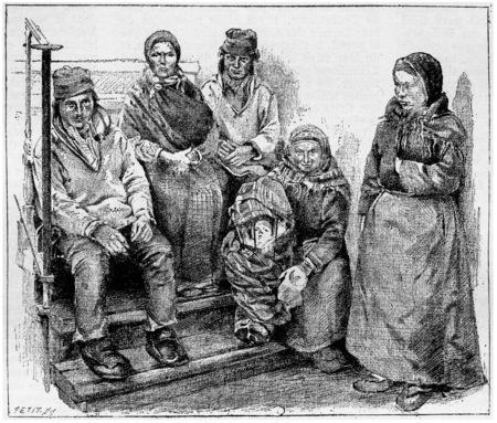 Laplanders や Sami の人々、ヴィンテージには図が刻まれています。辞書単語や Larive のことやフルーリ - 1895