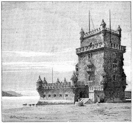 moor: Belem Tower, in Lisbon, Portugal, vintage engraved illustration. Dictionary of Words and Things - Larive and Fleury - 1895
