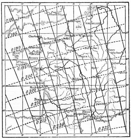 magnetosphere: Mappa della inclinazione del campo magnetico della Terra sulla Francia, vintage illustrazione inciso. Dizionario di parole e cose - Larive e Fleury - 1895