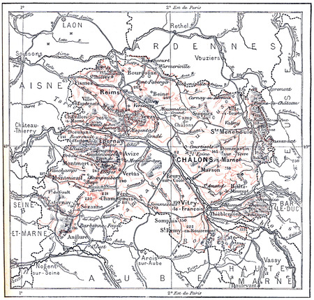 ヴィンテージのシャンパーニュ、フランス、マルヌの地形マップ図を刻まれています。辞書単語や Larive のことやフルーリ - 1895 写真素材