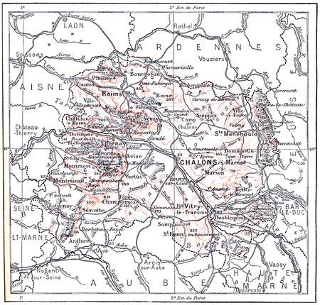 Topografische Kaart van Marne in Champagne-Ardenne, Frankrijk, vintage gegraveerde illustratie. Woordenboek van woorden en dingen - Larive en Fleury - 1895