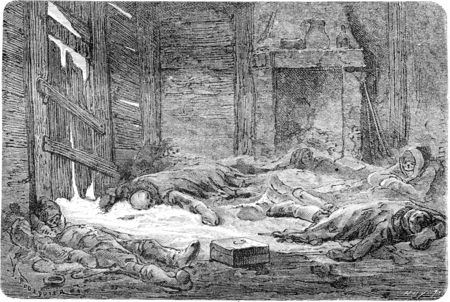 scurvy: Dutch died of scurvy in Spitsbergen, vintage engraved illustration. Le Tour du Monde, Travel Journal, (1865).
