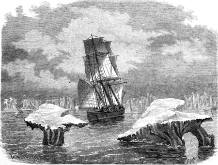 corvette: The corvette research in ice, vintage engraved illustration. Le Tour du Monde, Travel Journal, (1865).