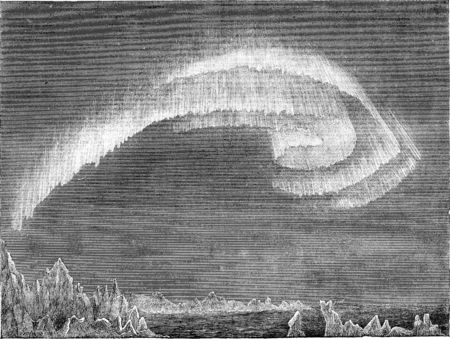 Appearance of the aurora borealis in south in evening, Bossekop (Finnmark), vintage engraved illustration. Le Tour du Monde, Travel Journal, (1865). Stok Fotoğraf