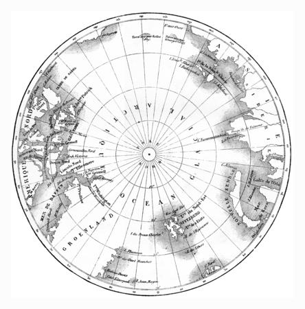 Kaart circumpolaire gebieden van het noordelijk halfrond. vintage gegraveerde illustratie. Le Tour du Monde, Travel Journal, (1865). Stockfoto