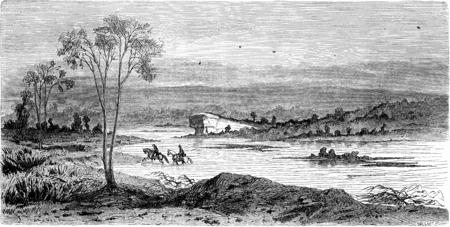 lapland: Passage of Alten Lapland, vintage engraved illustration. Le Tour du Monde, Travel Journal, (1865).