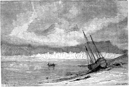 Navire russe abandonné. illustration vintage gravé. Le Tour du Monde, Voyage Journal, (1865).