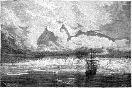Glacier aiguille et le mouillage de la corvette. illustration vintage gravé. Le Tour du Monde, Voyage Journal, (1865). Banque d'images