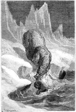 floe: Polar bears hunting seals. vintage engraved illustration. Le Tour du Monde, Travel Journal, (1865).