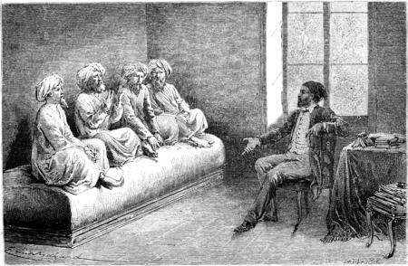 sunni: First interview with Tartar slow pilgrims (Sunni) in Tehran, vintage engraved illustration. Le Tour du Monde, Travel Journal, (1865).