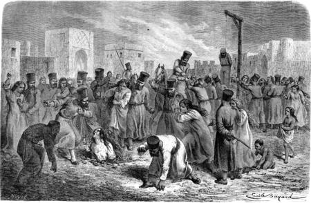 ahorcada: Adultos Tortura en Khiva. ilustración, grabado de época. Le Tour du Monde, Diario de viaje, (1865).
