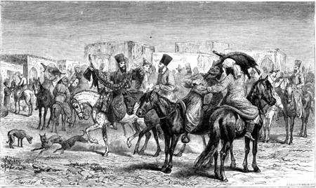 A market on horseback, Shourakhan (Kyrgyz), vintage engraved illustration. Le Tour du Monde, Travel Journal, (1865).