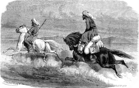 return: Return, On the road to Tehran, vintage engraved illustration. Le Tour du Monde, Travel Journal, (1865).