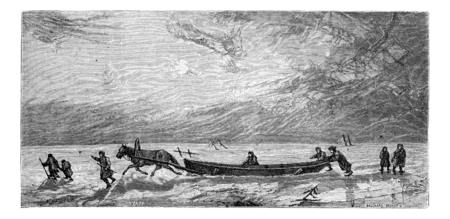 dragging: Dragging a boat on the ice of Düna, vintage engraving. Le Tour du Monde, Travel Journal, (1865).