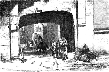 One of the gates of the port, the Sandpforte (door Sable), vintage engraved illustration. Le Tour du Monde, Travel Journal, (1865). Фото со стока