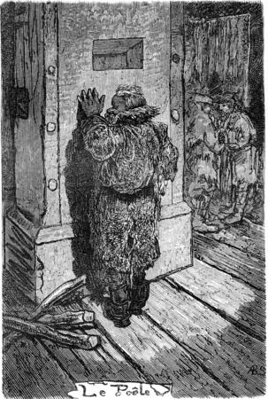 police station: The stove of the police station in Riga. vintage engraved illustration. Le Tour du Monde, Travel Journal, (1865).