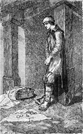 Merchant of apples in Riga, vintage engraved illustration. Le Tour du Monde, Travel Journal, (1865).