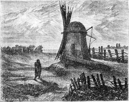 Een molen in de buurt van Dorpat, vintage gegraveerde illustratie. Le Tour du Monde, Travel Journal, (1865). Stockfoto