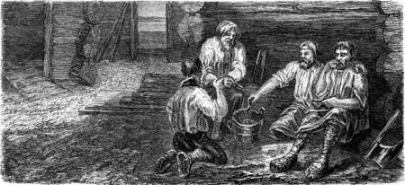 Essen Tischler in Dorpat, Jahrgang gravierte Darstellung. Le Tour du Monde, Reisetagebuch, (1865).