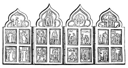 お互いに、ヴィンテージの刻まれた図に折り畳み式の小さな祭壇画 4 側面。ル ツアー デュ モンド、トラベル ジャーナル (1865 年)。 写真素材 - 38395734