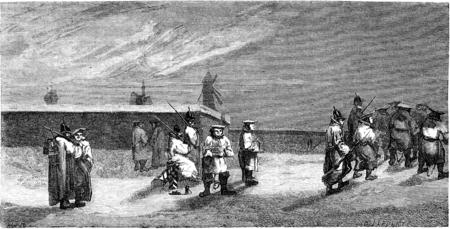 De veroordeelden in de buurt van de muren in Riga, vintage gegraveerde illustratie. Le Tour du Monde, Travel Journal, (1865). Stockfoto