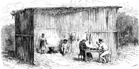 Kitchen and dining room of the mission of Tierra Blanca, vintage engraved illustration. Le Tour du Monde, Travel Journal, (1865). illustration