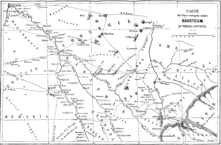boundaries: Map of the Country between Khartoum and Tchelga, vintage engraved illustration. Le Tour du Monde, Travel Journal, (1865).