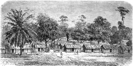 africa antique: Village of skirmishers in Gabon, vintage engraved illustration. Le Tour du Monde, Travel Journal, (1865).