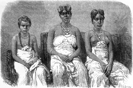 gabon: The daughters of King Louis, vintage engraved illustration. Le Tour du Monde, Travel Journal, (1865).