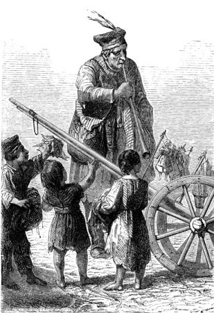rag wheel: The rag families in Swansea, vintage engraved illustration. Le Tour du Monde, Travel Journal, (1865). Stock Photo