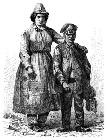 mine worker: A woman and a young worker of mine in Pontypool, vintage engraved illustration. Le Tour du Monde, Travel Journal, (1865).
