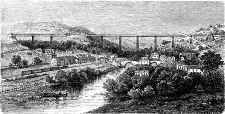 viaduct: Crumlin Viaduct, vintage engraved illustration. Le Tour du Monde, Travel Journal, (1865). Stock Photo