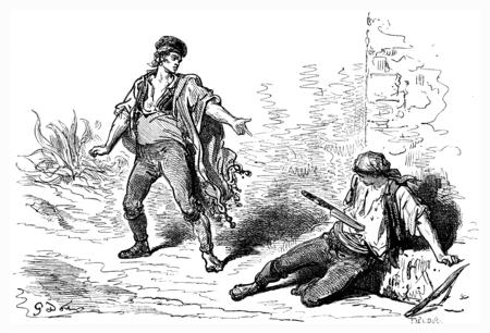 combatant: Fencing knife, lanzar the navaja, vintage engraved illustration. Le Tour du Monde, Travel Journal, (1865). Stock Photo