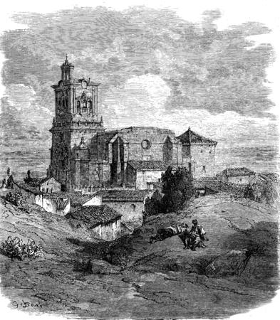 black maria: Church of Arcos de la Frontera, vintage engraved illustration. Le Tour du Monde, Travel Journal, (1865).