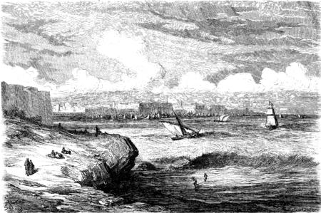 port of spain: Cadiz, vintage engraved illustration. Le Tour du Monde, Travel Journal, (1865).