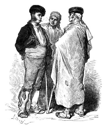 Majo and farmers around Jerez (Sherry), vintage engraved illustration. Le Tour du Monde, Travel Journal, (1872).