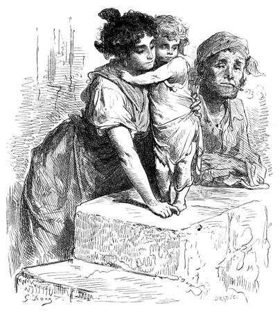 suburb: Residents of the suburb of La Macarena in Seville. vintage engraved illustration. Le Tour du Monde, Travel Journal, (1865).