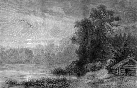 onega: A shore of the Gulf of Onega, vintage engraved illustration. Le Tour du Monde, Travel Journal, (1872).