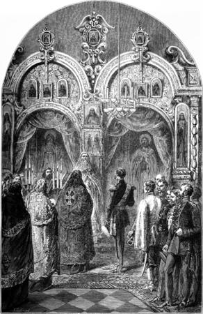 relics: Alexander II visiting the relics of St. Zosima, the monastery of Solovetsk, vintage engraved illustration. Le Tour du Monde, Travel Journal, (1872). Stock Photo